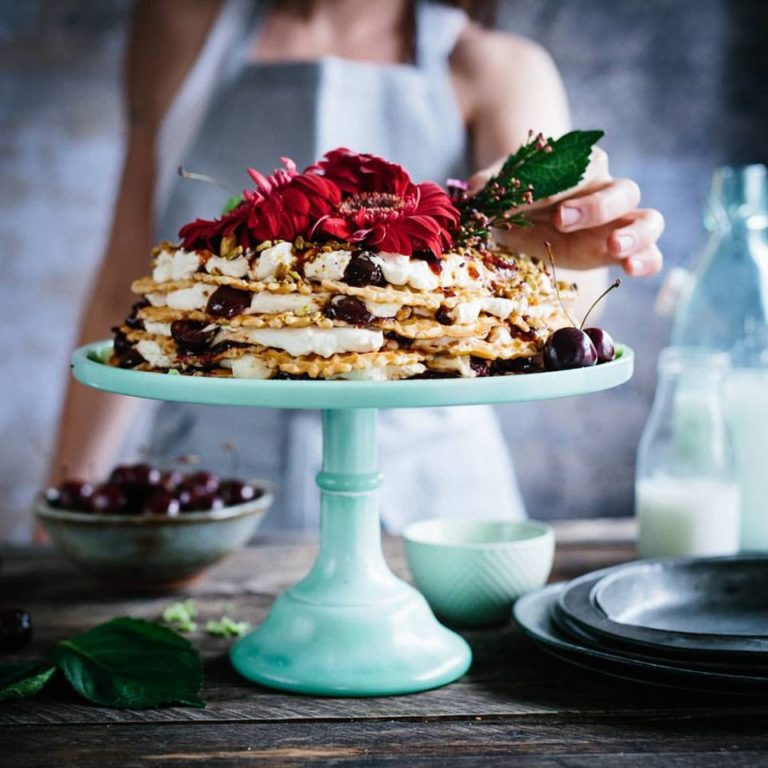 No-Bake Cherry Bourbon & Pizzelle Icebox Cake