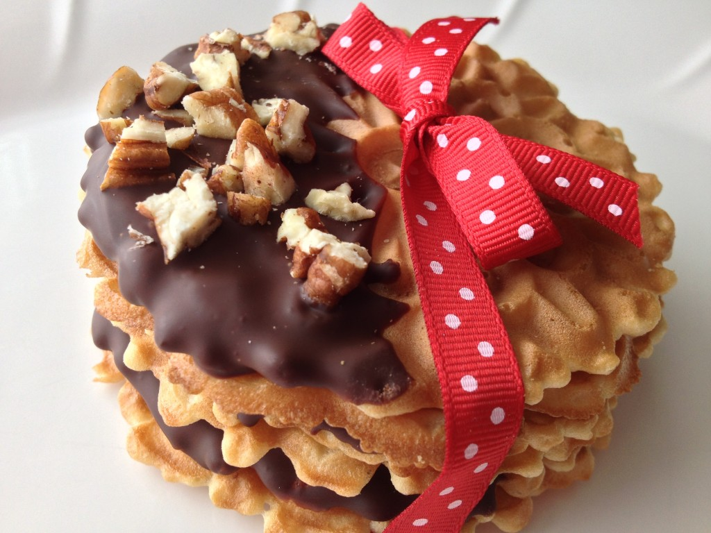 Dark Chocolate Dipped Pizzelle