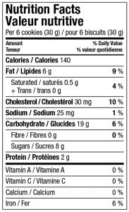 Pizzelle Vanilla Nutrition Facts Canada