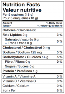 Rosemary & Olive Oil Nutrition Facts Canada